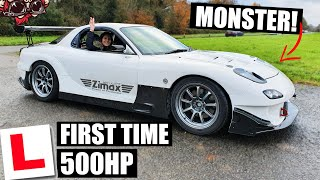 🐒 GIRLFRIEND DRIVES 500HP RX7 MONSTER FOR THE FIRST TIME!