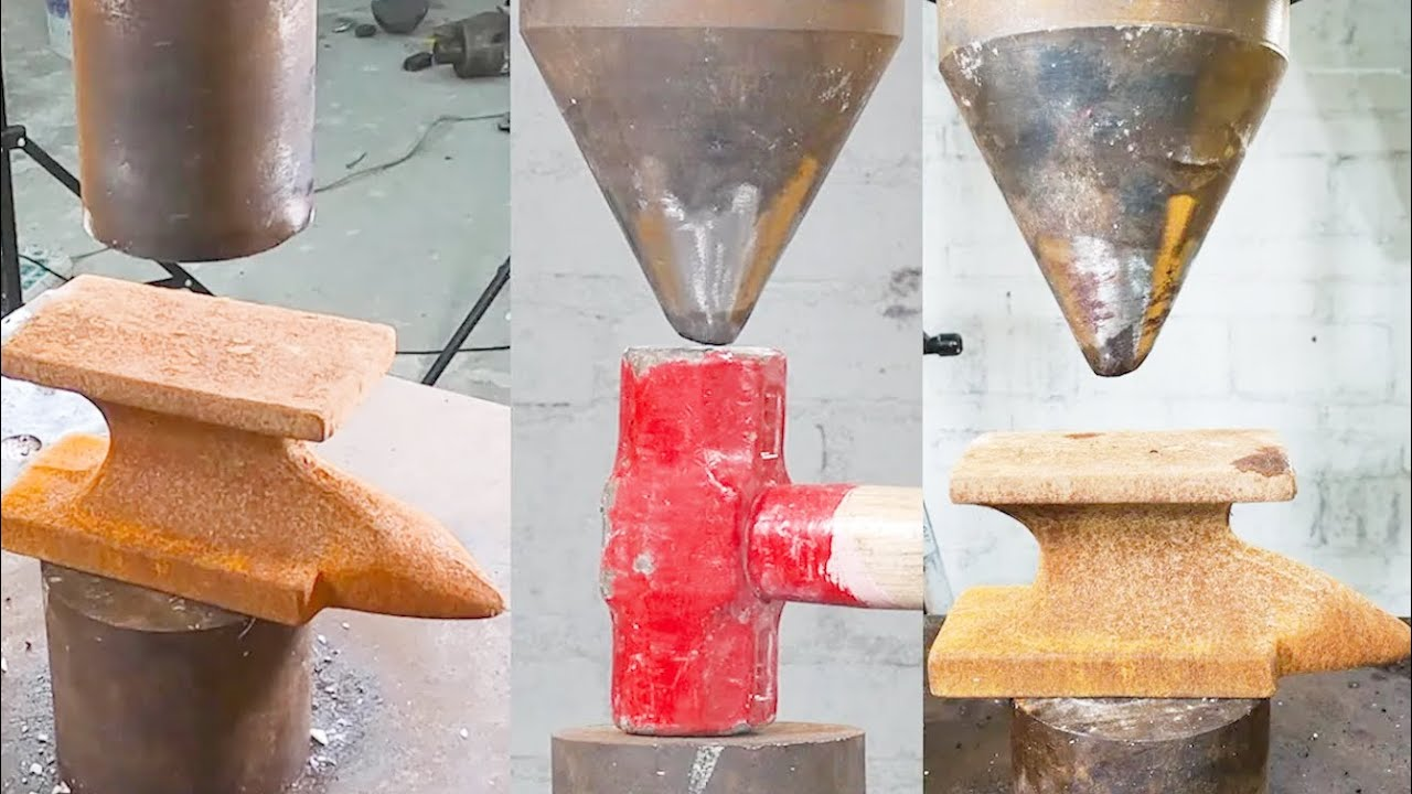 Hydraulic press challenges extreme steel sheep anvil and big steel hammer