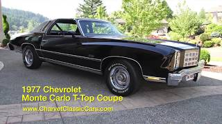 1977 Chevrolet Monte Carlo T-Top Coupe For Sale. www.CharvetClassicCars.com