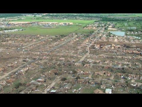 Aerial View Of EF5 Tornado's Path - Moore, OK 2013