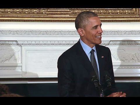 The President and First Lady at the White House Poetry Workshop