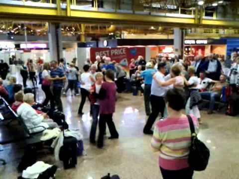 Irish folk waiting for their flight in Portugal