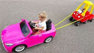 Little Girl Elis Ride On Pink Mercedes AMG Power Wheel with Cozy Coupe Little Tikes and Dolls Crew