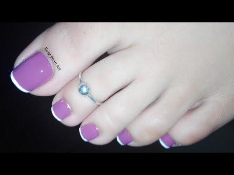 Purple Nude French Pedicure Nail Art- Dark Nude Toe Nail Art Tutorial | Rose Pearl thumbnail