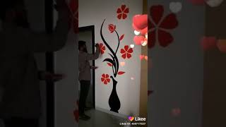 Beautiful Flowers Pot Wall Painting Simple Easy Flower Vase Wall Painting Permanent Oil Painting