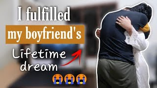 I gave my boyfriend an unexpected and emotional surprise | Biggest surprise ever (He cried)