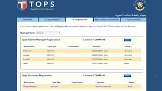 DPS Texas Online Private Security (TOPS) | My Registrations
