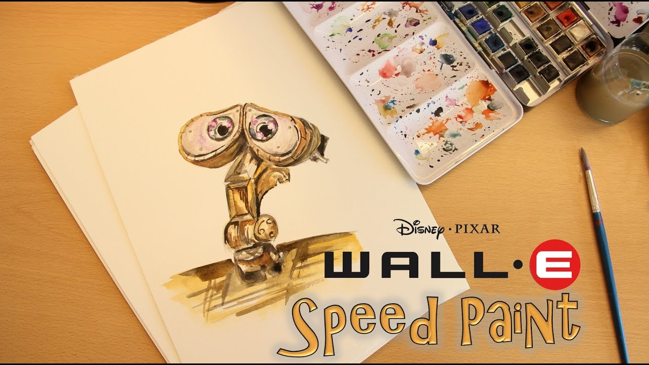 SPEEDDRAW! #1 Disney Pixars WALL-E w/ Watercolours - YouTube