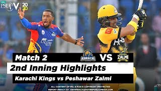 Karachi Kings vs Peshawar Zalmi | 2nd Inning Highlights | Match 2 | 21 Feb 2020 | HBL PSL 2020
