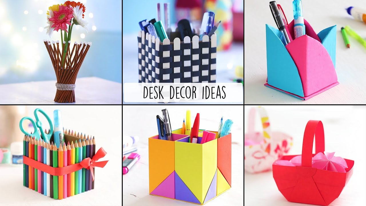 6 Easy Desk Decor Ideas Desk Decor Craft Ideas Youtube