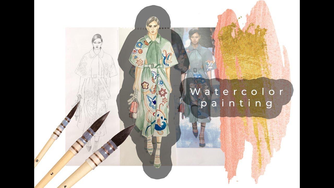 Painting Watercolor Dress Suluboya Elbise Boyama Youtube