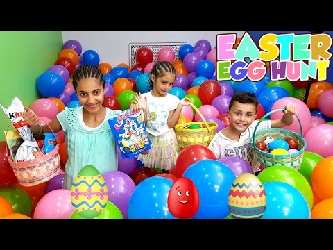 EASTER EGG HUNT! Chocolate Kinder Surprise Eggs - LOTS OF CANDY CHALLENGE - HZHtube Kids Fun