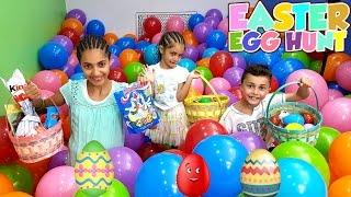 EASTER EGG HUNT! Chocolate Kinder Surprise Eggs - LOTS OF CANDY CHALLENGE - HZHtube Kids Fun