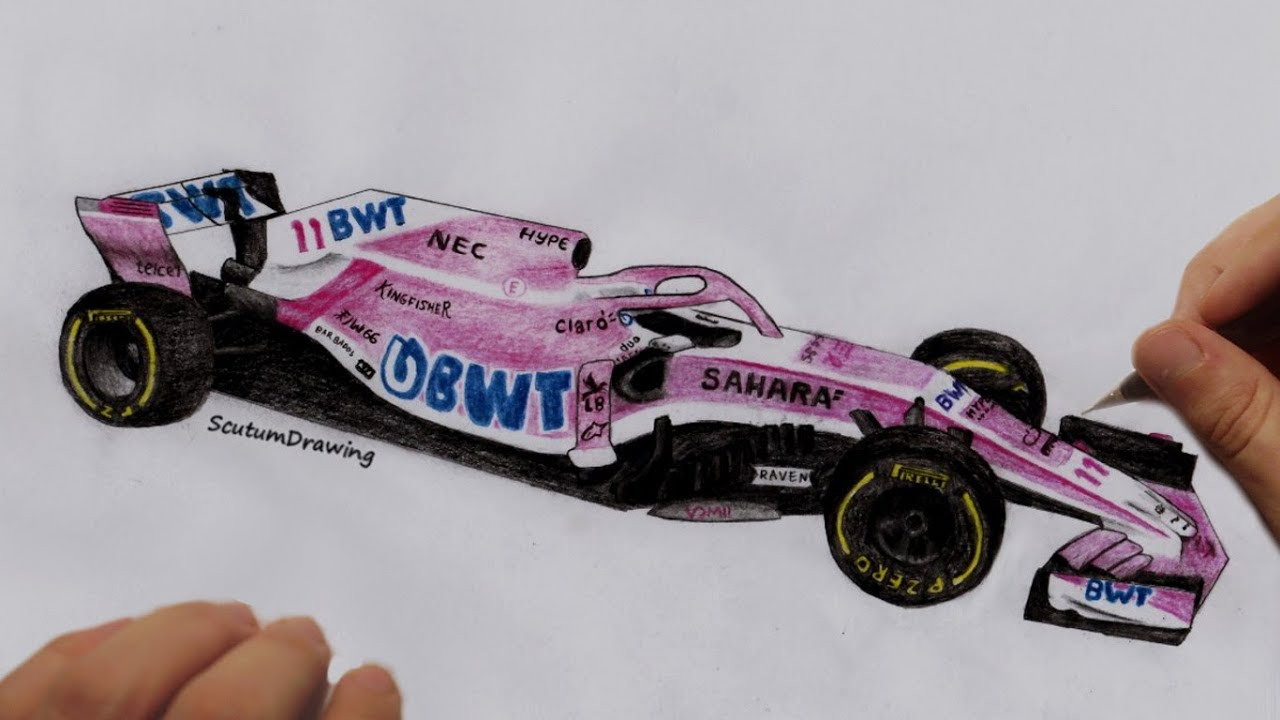 Force India Vjm11 Speed Drawing How To Draw How To Draw F1 Car Youtube