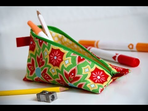 How to sew a pencil case or make up bag with a zip DIY tutorial ...