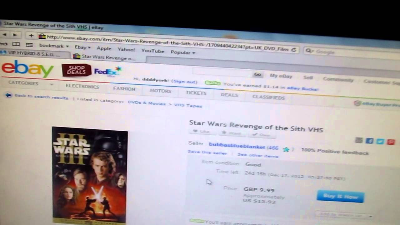 Ebay Wtf Star Wars Revenge Of The Sith Vhs Youtube