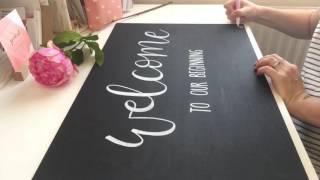 الفيديو الكامل - خلق جميل نرحب السبورة الزفاف w/ التفصيل الأزهار باستخدام الأقلام الطلاء