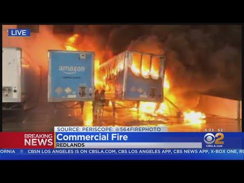 Massive Warehouse Fire Erupts In Redlands