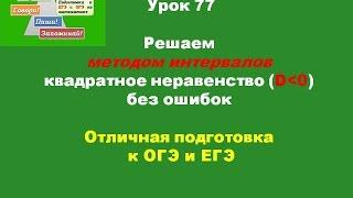 Урок 77 Метод интервалов 4  . Дискриминант меньше 0