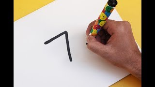 How to turn Number 7 into a Cartoon GINGERBREAD ! Fun with Number Drawing for kids
