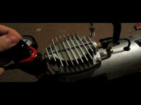 How to adjust the PSI on an airbrush compressor.