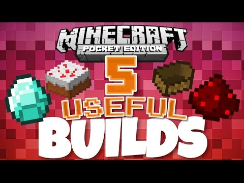 ✔️Minecraft PE - 5 USEFUL BUILDS/CREATIONS | Redstone creations and contraptions! [MCPE 0.14.2]