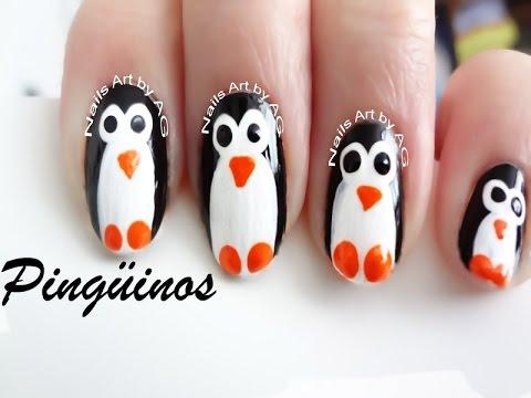 Decoración De Uñas Pingüinos Diy Youtube