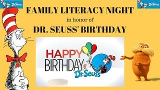 FAMILY LITERACY NIGHT in honor of DR  SEUSS' BIRTHDAY!!! Fun Activity in School!