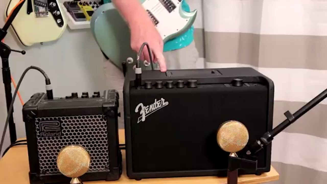 fender mustang gt40 vs roland micro cube - youtube