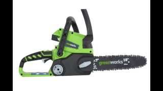 GreenWorks 20182 Enhanced 24V Lithium Ion 10 Inch Chainsaw Enhanced 24V 2 AH Battery and Charger