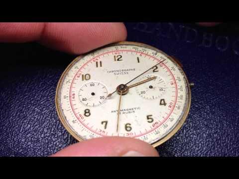 Vintage Rare CHRONOGRAPHE SUISSE Watch Movement Chronograph 17. Landeron Cal 48? Video7328