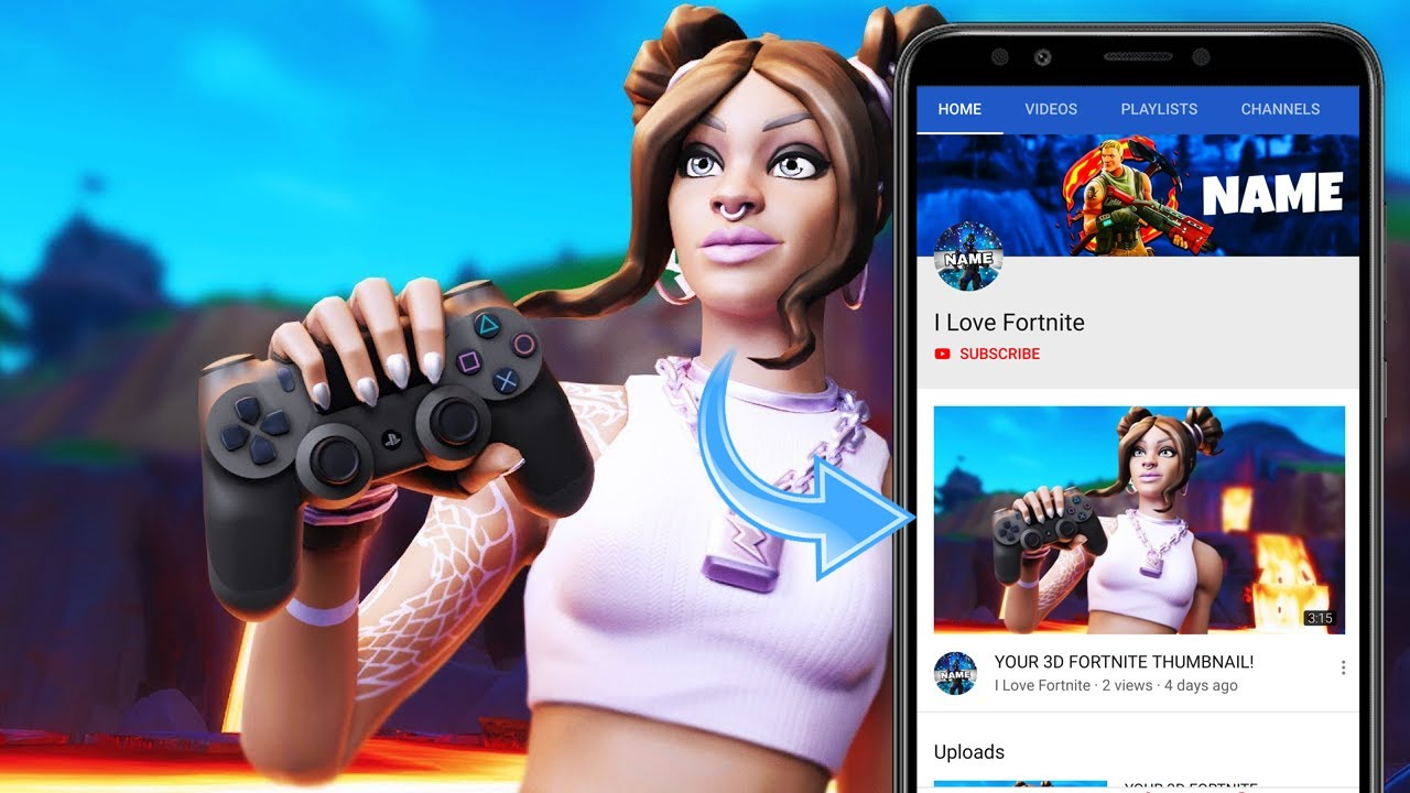 How To Make 3d Fortnite Thumbnails Android Ios Easy Youtube