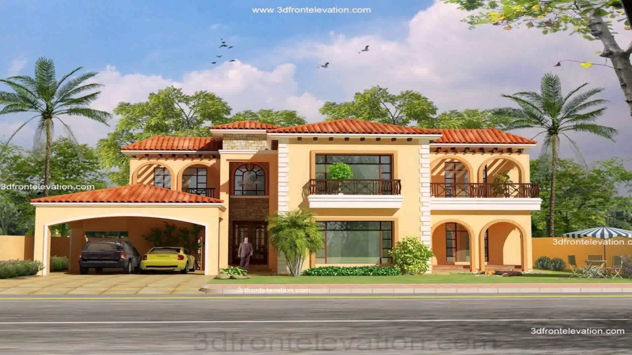 Pakistani house front elevation designs youtube for Pakistani new home designs exterior views