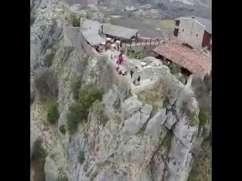 Drone view of Petrela Castle in Tirana, Albania