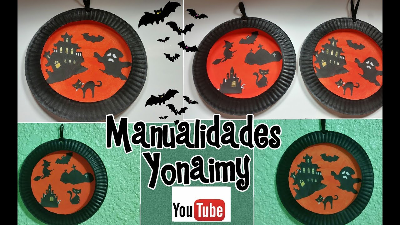 adornos de halloween con platos de papel para nios youtube
