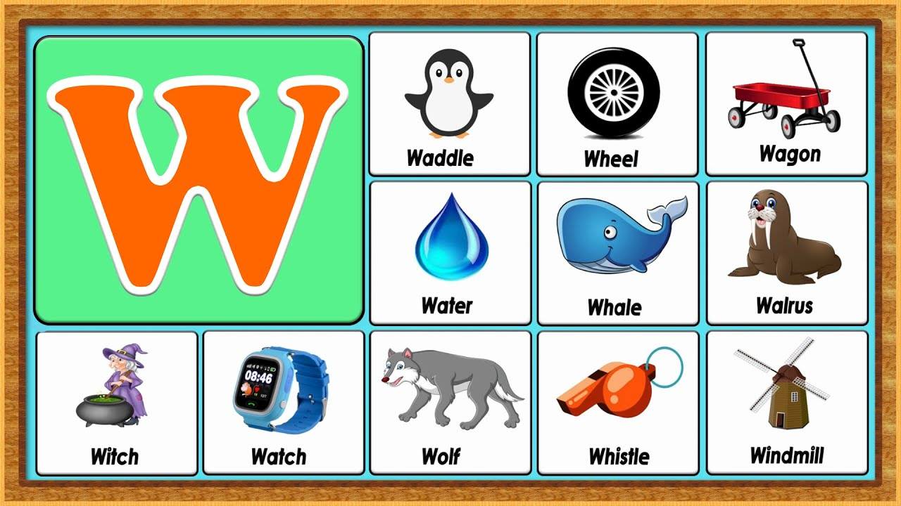 Words From W | Vocabulary Words | Early Childhood Education | ABC Flashcards