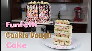 Funfetti Cookie Dough Drip Cake | CHELSWEETS