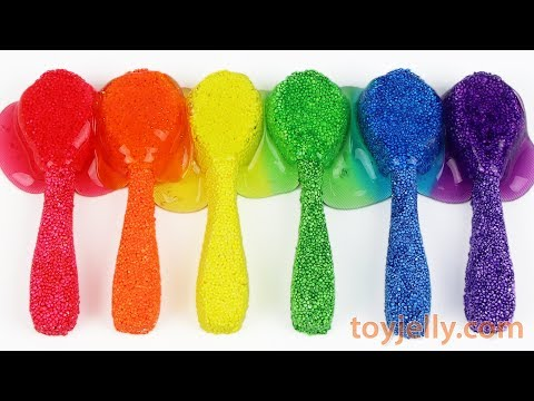 Making Slime Color Spoons with Kinetic Foam Clay DIY How To Make Fun for Kids