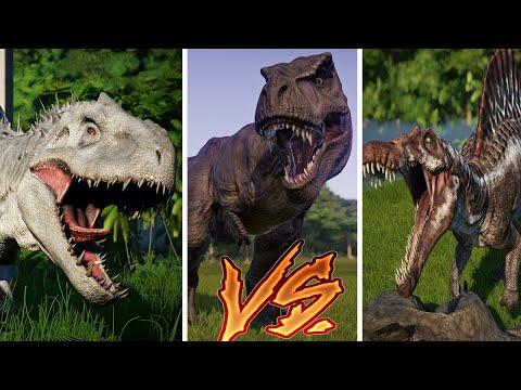 Tyrannosaurus Rex vs Triceratops vs Allo vs Spino vs Indo Rex - Jurassic World Evolution |