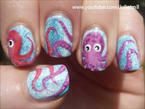 octopus nail art sea life tutorial