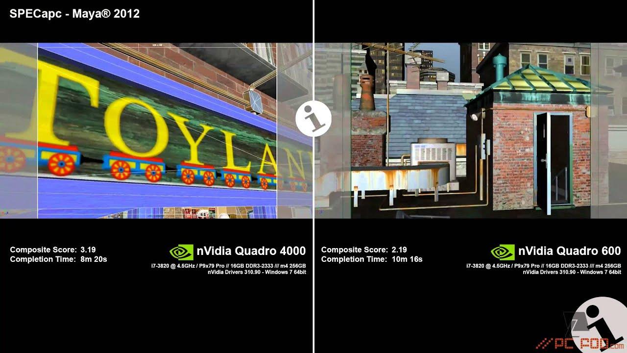 nVidia Quadro 4000 vs Quadro 600 in SPECapc for Maya® 2012 - PCfoo com