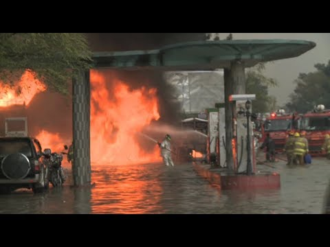 Gas Station Fire... In A Flood (Kabul, Afghanistan)