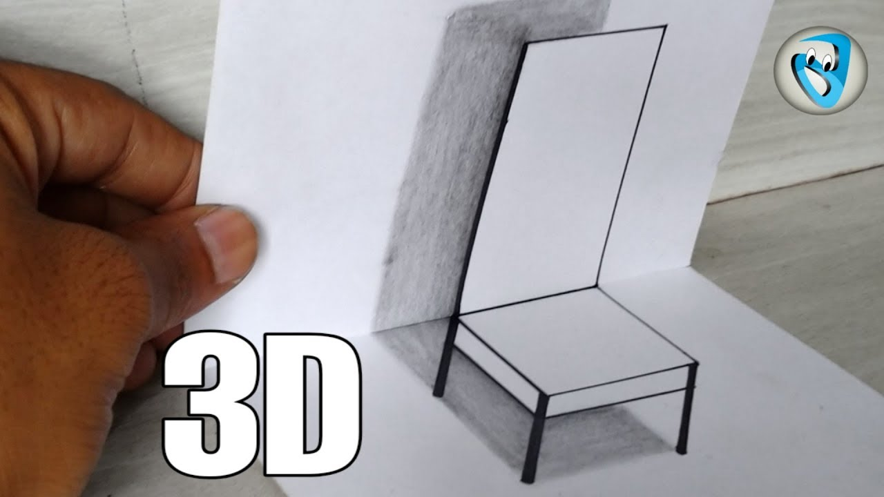 Very Easy !! How To Draw 3D Chair for Kids - Anamorphic Illusion - 3D Trick  Art on paper