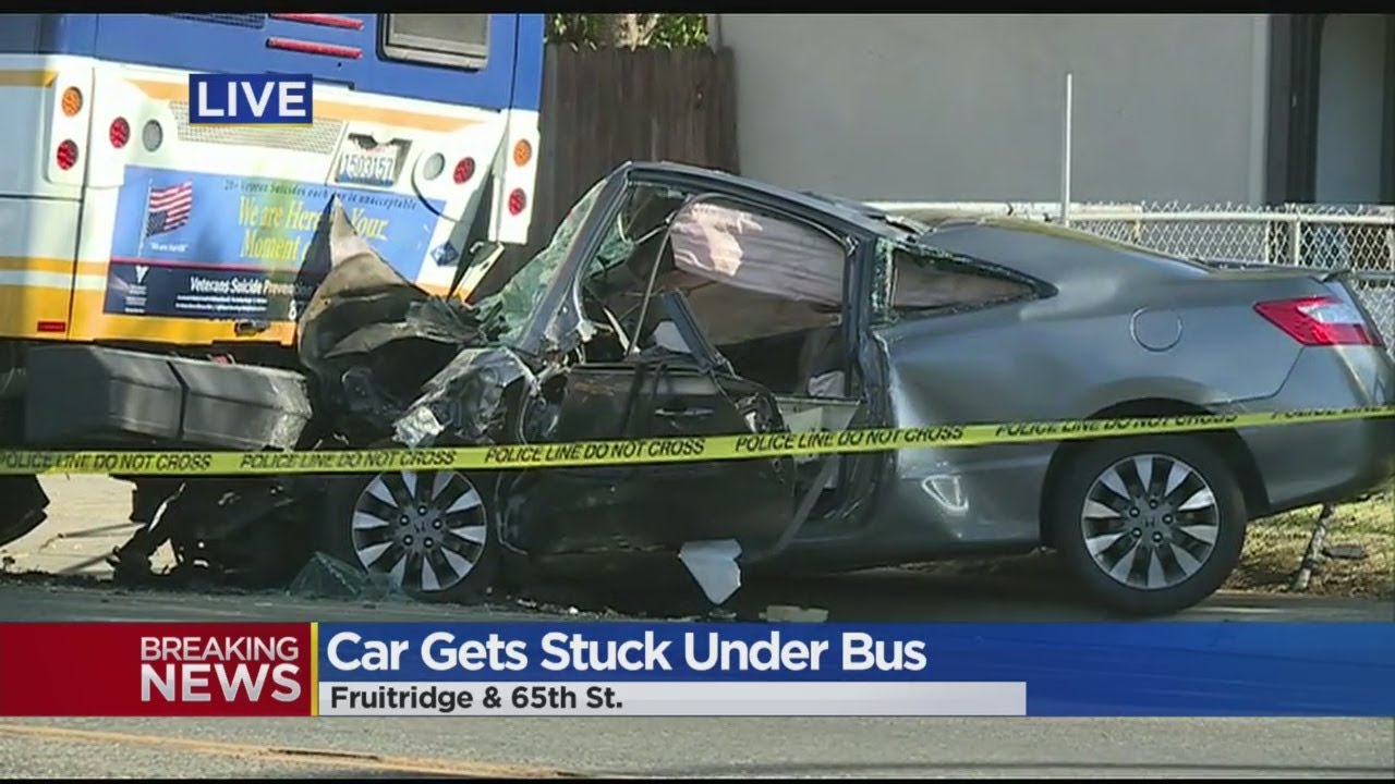 Crash Leaves Car Pinned Under Bus In Sacramento