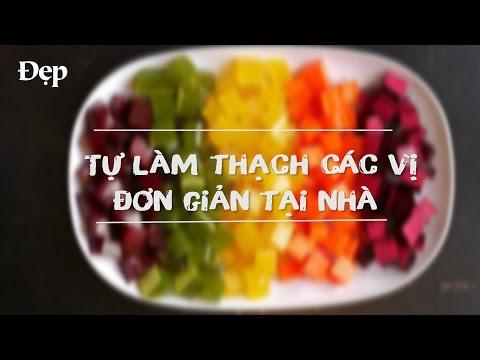 """Cách làm làm thạch rau câu các màu,  vị cực đơn giản (How to make """"rainbow"""" jelly recipe)"""