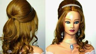Вечерняя, свадебная, на выпускной, прическа с диадемой для длинных волос.