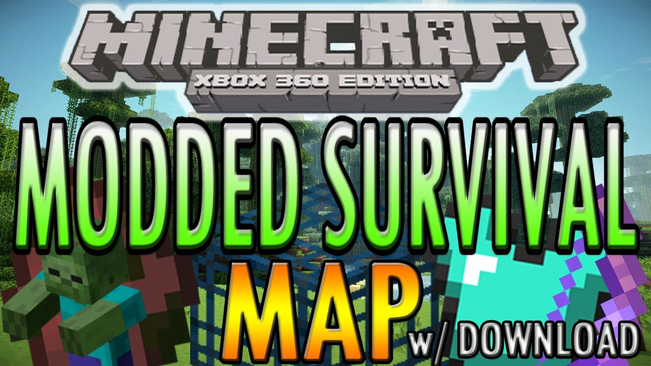 Minecraft (Xbox 360) Modded Survival Map, Spawners, X Enchantments + ...