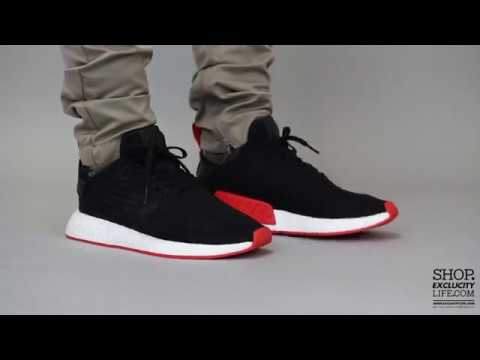 667961067444d Adidas NMD R2 PK Black Red On feet Video at Exclucity - YouTube