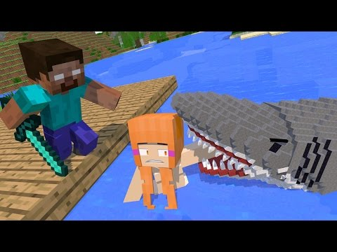 Monster School: Girls vs Boys Fishing Shark Challenge - Minecraft Animation