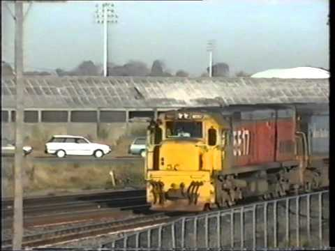 NZ  Freight and Passenger trains in Christchurch New Zealand in May 1994